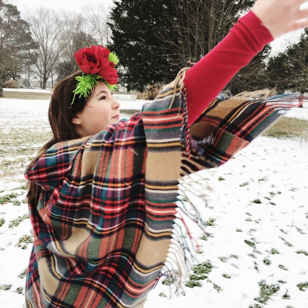 Paper Flower Crown - Red and Green - Snow Princess
