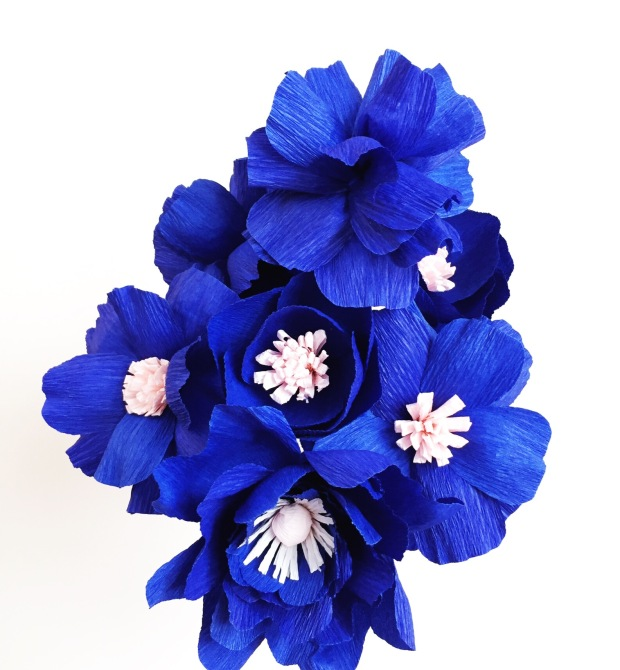 Bouquet of Royal Blue Paper Flowers @ BloxomBlooms.com