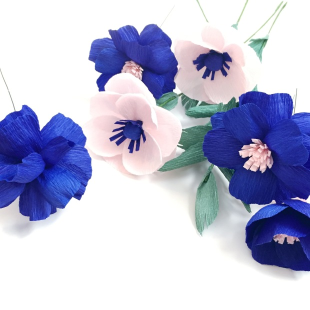 Blue Royals and PInk Anemone Paper Flowers @ Bloxom Blooms