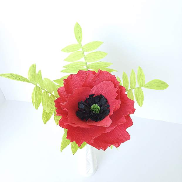 Calypso Bouquet - Red Poppy and Fern Leaves