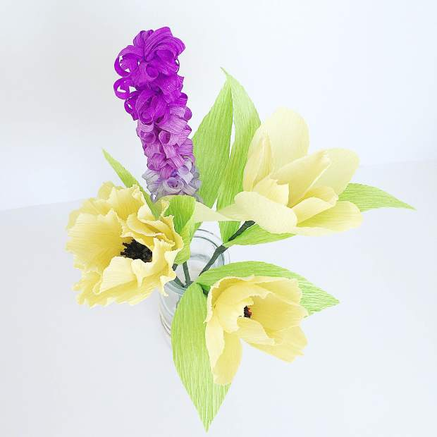Bouquet of Yellow Tuplips and Purple Hyacinth - Paper Flowers