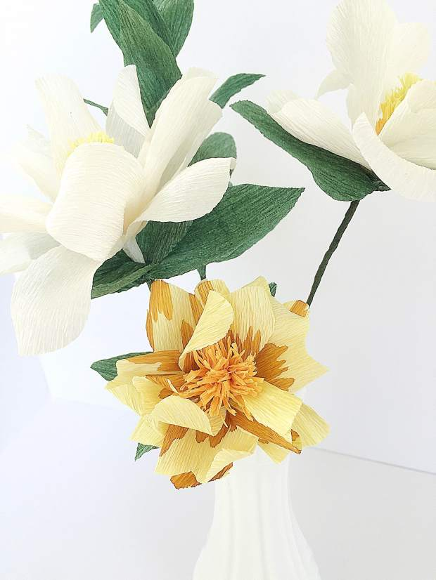 Darcy Bouquet - The Southern Charmer - two magnolias and a hand-dyed wild yellow rose