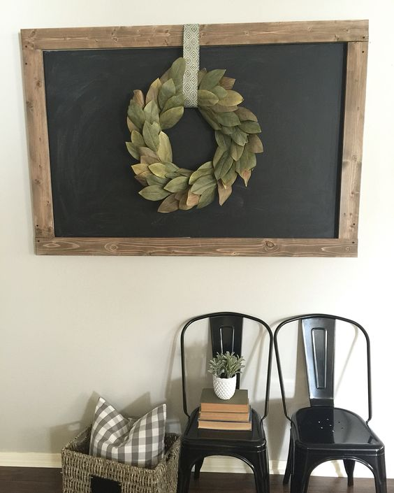 Magnolia Wreath on DIY Chalkboard