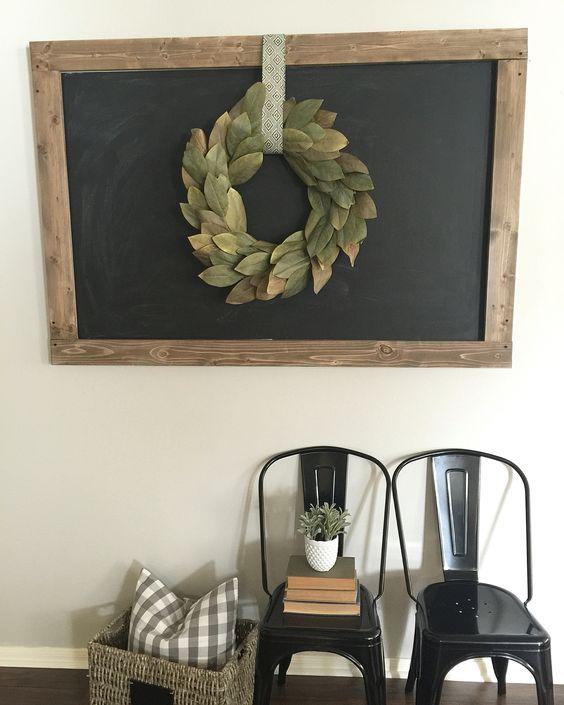 Magnolia Wreath on DIY Chalkboard