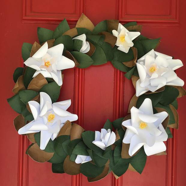 Paper Magnolia Wreath - Bloxom Blooms - Home Decor