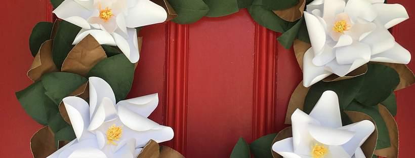 Paper Magnolia Wreath - Bloxom Blooms - Home Decor